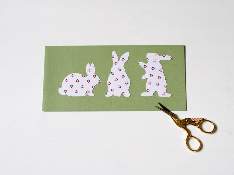 Osterhasenkarte 3 Hasen
